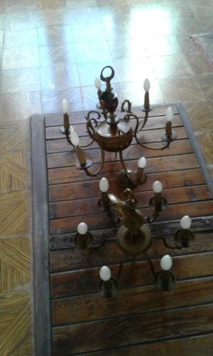 Arañas de bronce y bronce madera