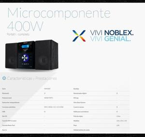 MINICOMPONENTE NOBLEX MM43BT. BLUETOOTH USB CD MP3. NUEVOS