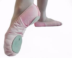 Zapatillas De Danza Media Punta Elastizadas Con Gabardina!