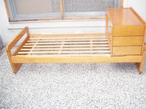 Cama de 1 plaza tipo cuna funcional con colchón