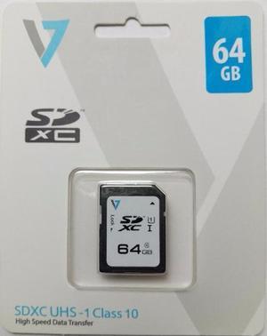Memoria V7 64gb Sdxc Clase 10 Uhs-l U1 Para Camaras Full Hd