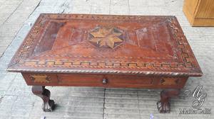 Mesa Ratona Chippendale con Marqueteri Muy Antigua. Cód.: