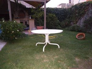 Mesa redonda en chapa, para jardín