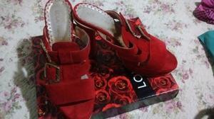 Zapatos gamuza en rojo