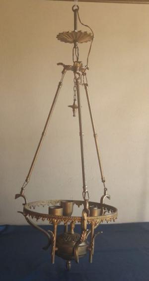 Antigua araña lámpara colgante bronce 3 luces