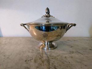 Antigua Guisera Bronce Plateado Francesa Christofle Sellada