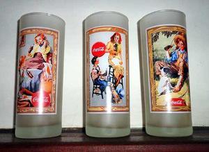 Coca Cola Lote De 3 Vasos Esmerilados Altos