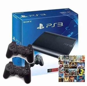 Playstation 3 500gb Con 140 Juegos Cargados! 2 Joystick F18