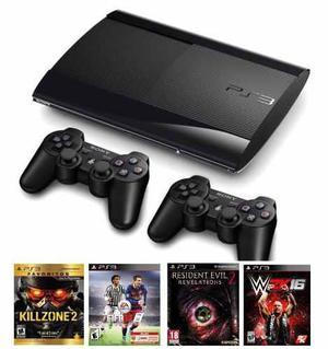 Sony Playstation 3 Ps3 500gb Ultra Slim 2 Joysticks 1 Juego