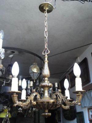 Antigua araña estilo francés, bronce macizo. Antigua