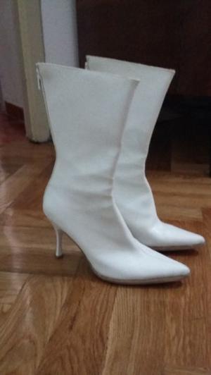 Botas de media caña blancas N°36
