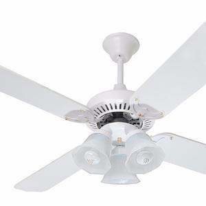 Ventilador Techo Blanco Madera Con Luz Lumer 603 Linea