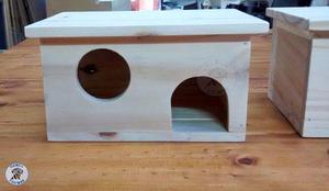 Casita De Madera Para Hamsters, Cobayos Barnizada