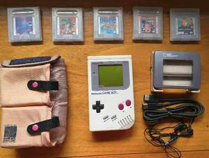 Game Boy Classic Impecable + 5 Juegos + Funda + Lupa