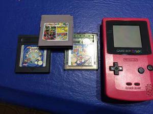 Gameboy Color Rosa + 3 Juegos, Impecable Estado! Imperdible!