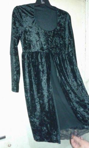 vestido de fiesta negro t2 manga larga de chifon de invierno
