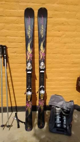 Tablas De Ski, Bastones Y Botas Mujer.