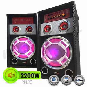 Par De Bafle Potenciado Bluetooth-usb-mic-karaoke-2200w