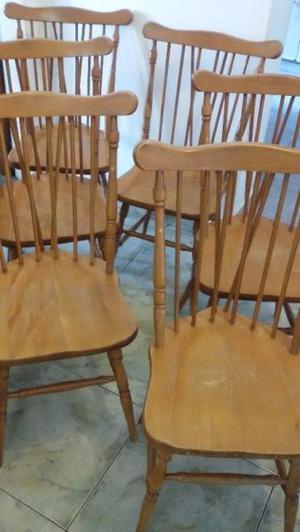 6 sillas windsor americanas antiguas madera roble macizo