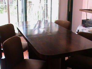 Juego de Comedor, Mesa extensible y 6 sillas, laqueado,