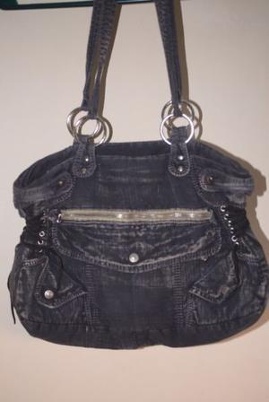 119 Cartera de jean negro veteado - Ona Saez