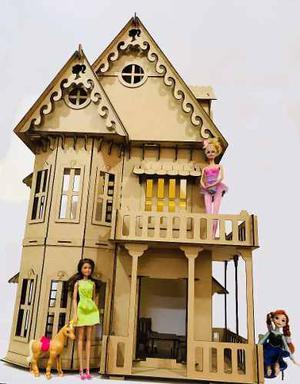 Casita De Muñecas Barbies Con 16 Muebles Fibrofacil Gotica