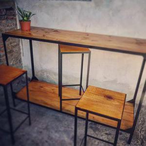 Bancos de tronco rustico artesanal jardin posot class for Barra estilo industrial