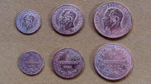 Monedas de 2, 5 y 10 centésimos, Italia 1861 - 1863