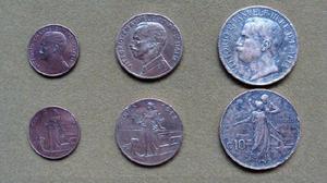 Monedas de 2, 5 y 10 centésimos, Italia 1911 - 1918
