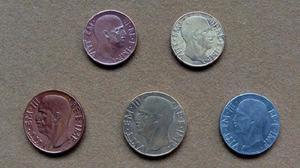 Monedas de 5, 10 y 20 centésimos, Italia 1937 - 1942