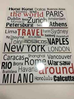 Azulejo Wordl Travel 20 X 50 Cm - Acuarela -