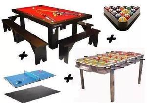Mesa De Pool 254 + Metegol + Ping Pong + 2 Kits! Yeerom ®