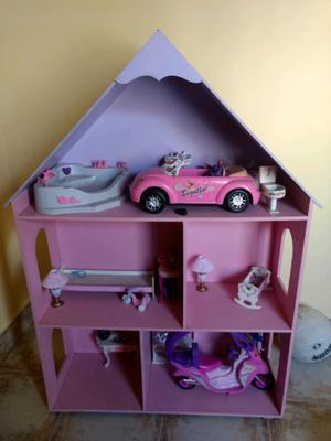 Casa de muñecas amoblada y auto