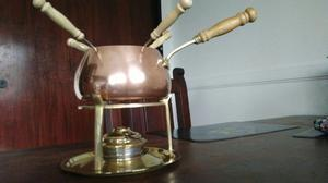 Fondue de cobre de 16cm diametro con base de bronce
