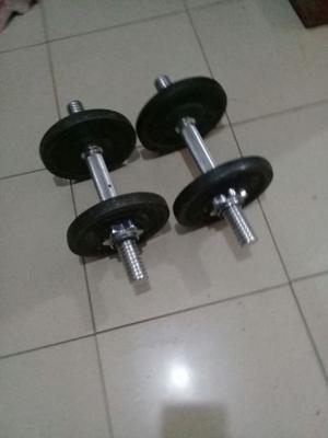 4 discos de 2 kilos y medio + 1 par de mancuernas cromadas