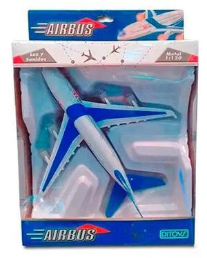 Airbus Avion De Metal Luz Y Sonidos A Friccion Orig. Ditoys