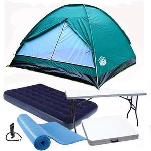 Kit Carpa 4 Pers. Colchon Mesa Plegable Valija Base Aislante