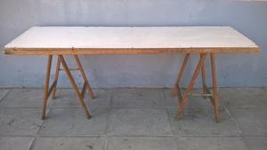 Mesa de madera con 2 caballetes 80 cm x 245 posot class - Mesa con caballetes ...