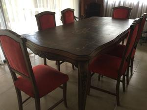 Mesa de comedor Luis XV y sillas