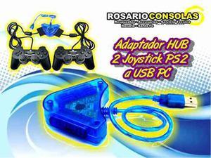 Adaptador Hub 2 Joystick De Ps2 A Usb Pc Ps3 Rosario