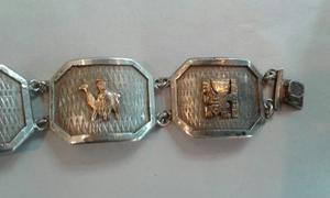 Pulsera Antigua De.plata Con Oro