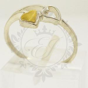 Anillo Mujer Plata 925 Y Oro Doble Corazón Ideal Novia