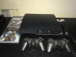 Playstation 3 160 Gb Con Equipo Move + Juegos + 2 Joistyck