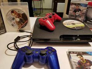 Ps3, Play Station 3, 2 Controles + 3 Juegos + Transformador