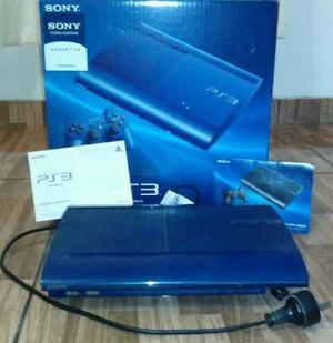 Ps3 Super Slim. [250 Gb] Azul Azurita. 2 Juegos A Elección