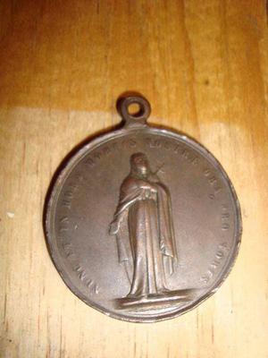 Antigua Medalla De Cobre Imagen De Jesús Crucificado Y