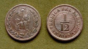 Moneda de 1/12 de real Paraguay 1845