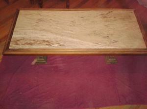 mesa ratona madera y mármol carrara estilo colonial