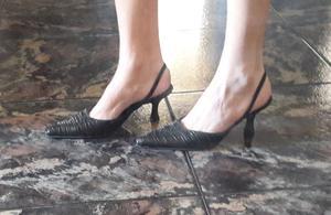 508 Zapatos taco chupete, negros