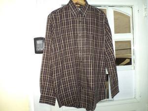 Camisa P/hombre Polo Manga Larga Talle M  Marron Escose
